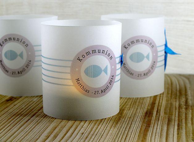 Kommunionkerzen - 4 x Tischlicht Kommunion Konfirmation Taufe Fisch - ein Designerstück von feinepapeterie bei DaWanda