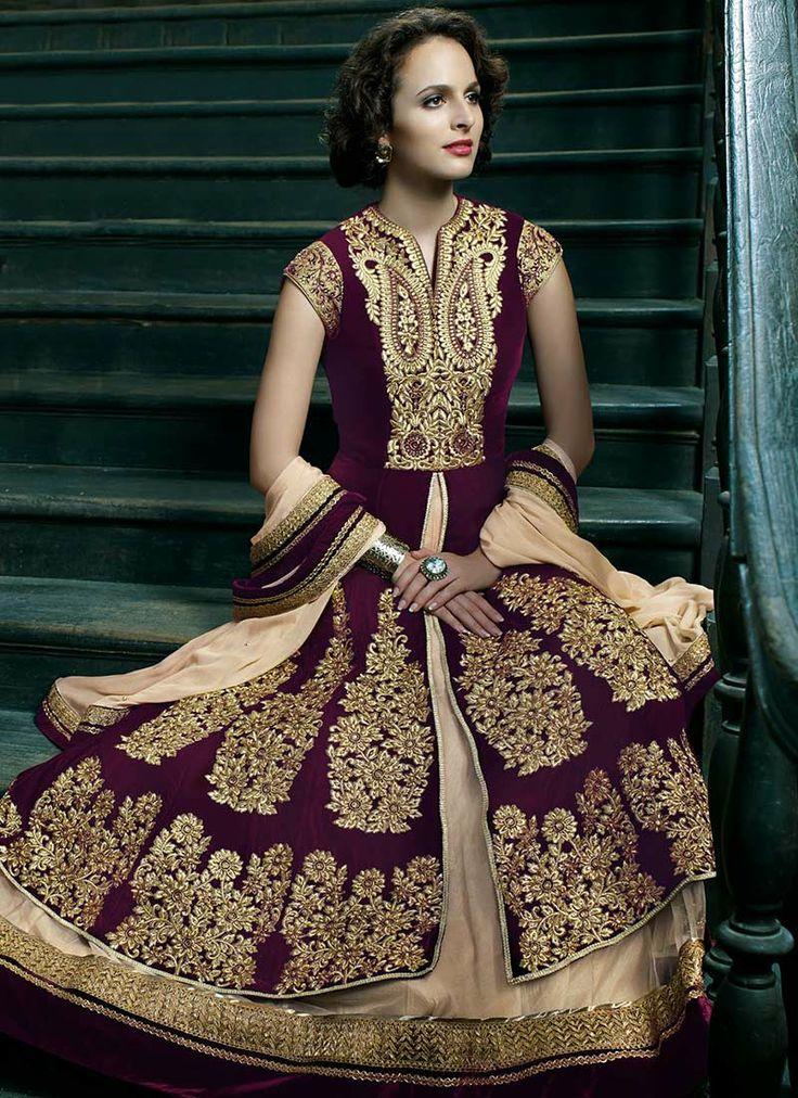 Zari Embroidered Layered Anarkali Suit. Pakistani and Indian Wedding Fashion Dress.