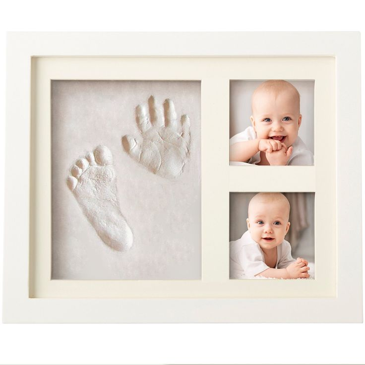 Charming Baby Handprint and Footprint Frame Package - Keepsake Preserves Priceless Memories - Non Toxic and Safe Clay - Quality Wood Frame with Safe Acrylic Glass - Baby Gift For Baby Registry