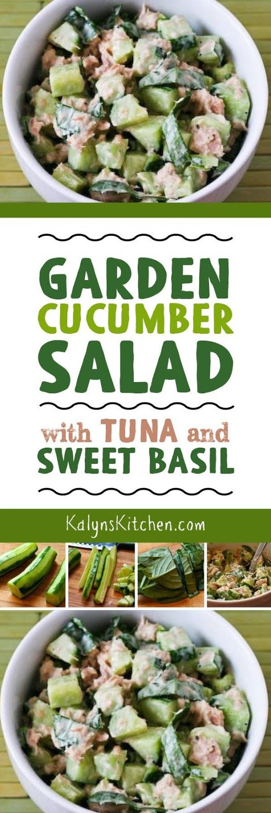 I love this simple Garden Cucumber Salad with Tuna and Sweet Basil, especially with the Italian tuna packed in olive oil that I'm so fond of. And this simple but amazing salad is low-carb, Keto, low-glycemic, gluten-free, dairy-free, South Beach Diet friendly, and can easily be Paleo or Whole 30 with the right dressing. [found on KalynsKitchen.com]