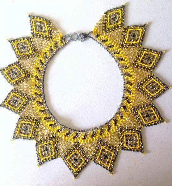 #yellow #neckpiece #handmade #beads