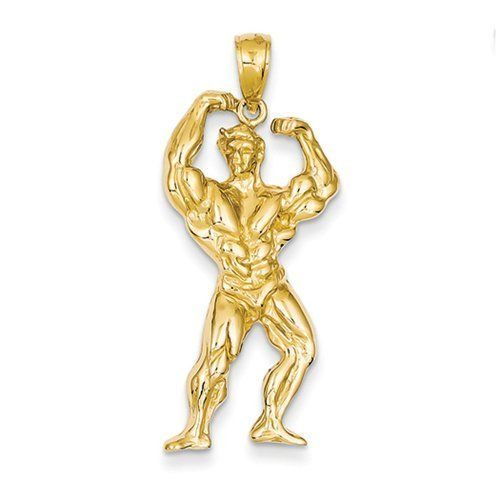 Black Bow Jewellery Company Gewichtheber-Anhänger, 14 Karat Gelbgold    Or in English    A black bow Jewelry Company Weight lifter. 14 karat gold.    You have your own first place with this nice golden Bodybuilder around the neck