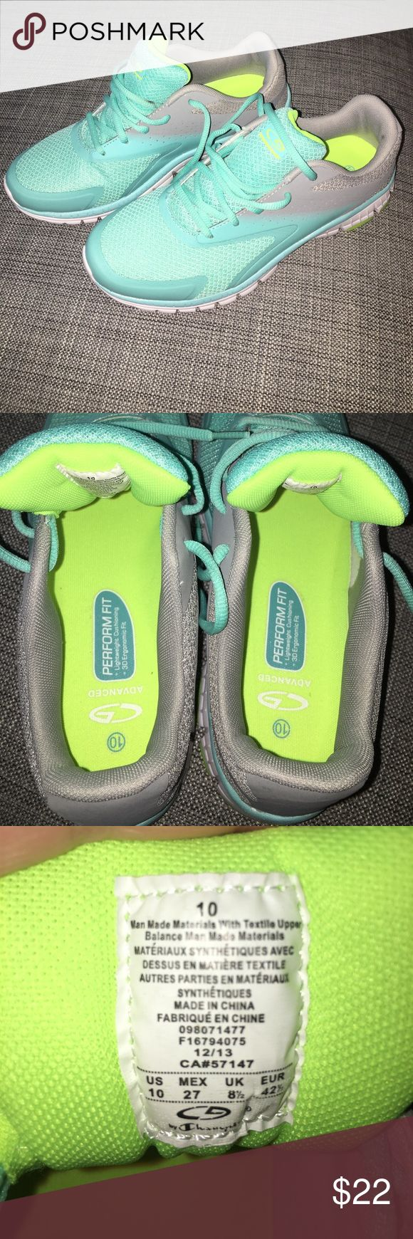 """Champion C9 running shoes gray & turquoise (it was described as """"mint"""" on the box) running shoes. worn once on the treadmill but they don't fit my feet right. small spot on back of right shoe - price adjusted accordingly. Champion Shoes Sneakers"""