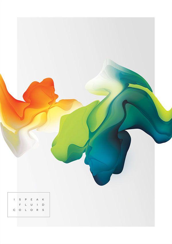 I speak fluid colors - Digital Art Project by Maria Grønlund #grafica #coloriIdeas, inspiracion y tutoriales sobre diseño digital. Digital design inspiration.
