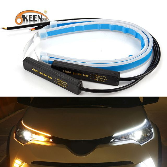 Okeen 2x Ultrafine Cars Drl Led Daytime Running Lights White Turn Signal Yellow Guide Strip For Headlight Asse Car Headlights Running Lights Headlight Assembly
