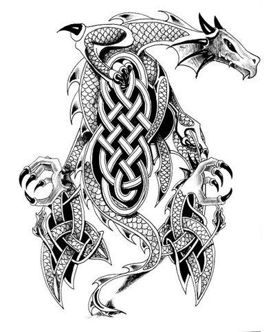 Celtic Dragon Tattoo Flash Drawing                              …                                                                                                                                                                                 More