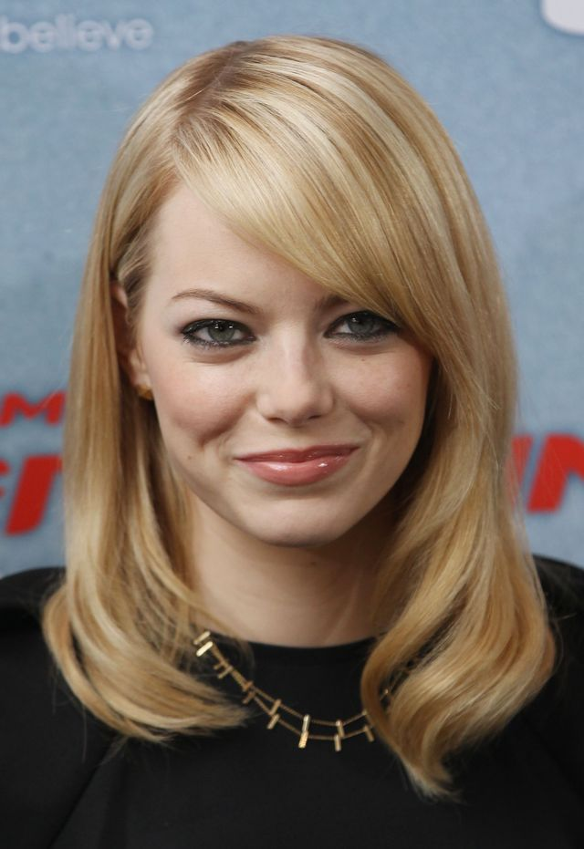 Flattering Celebrity Hairstyles for Round Faces: Emma Stone