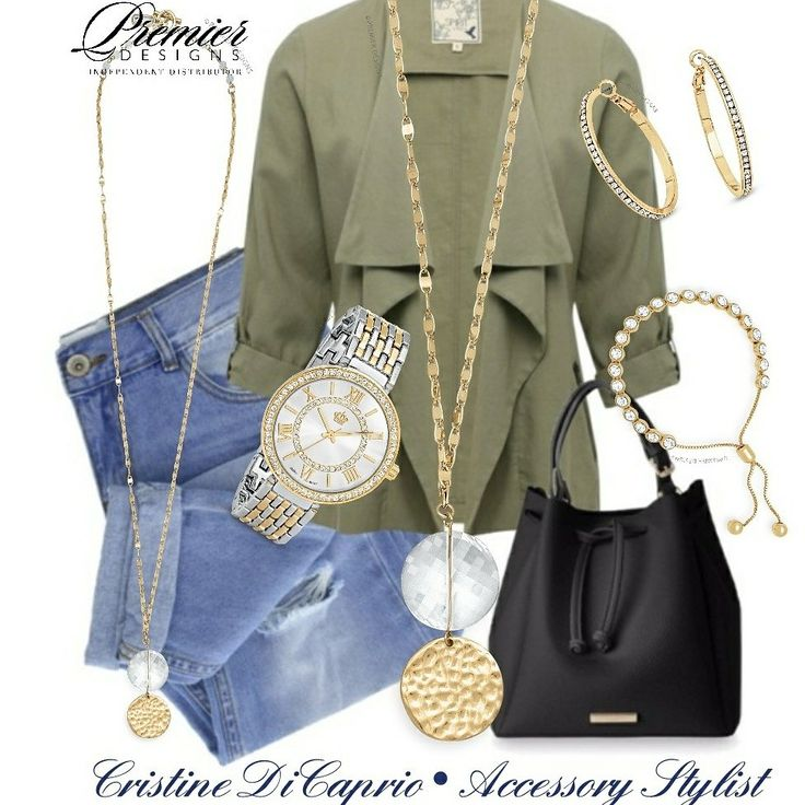 Boho Trend! Love this look! Distressed denim, army green and gold accents. Fiona necklace, Splendid watch, Haute hoops and At Last bracelet.
