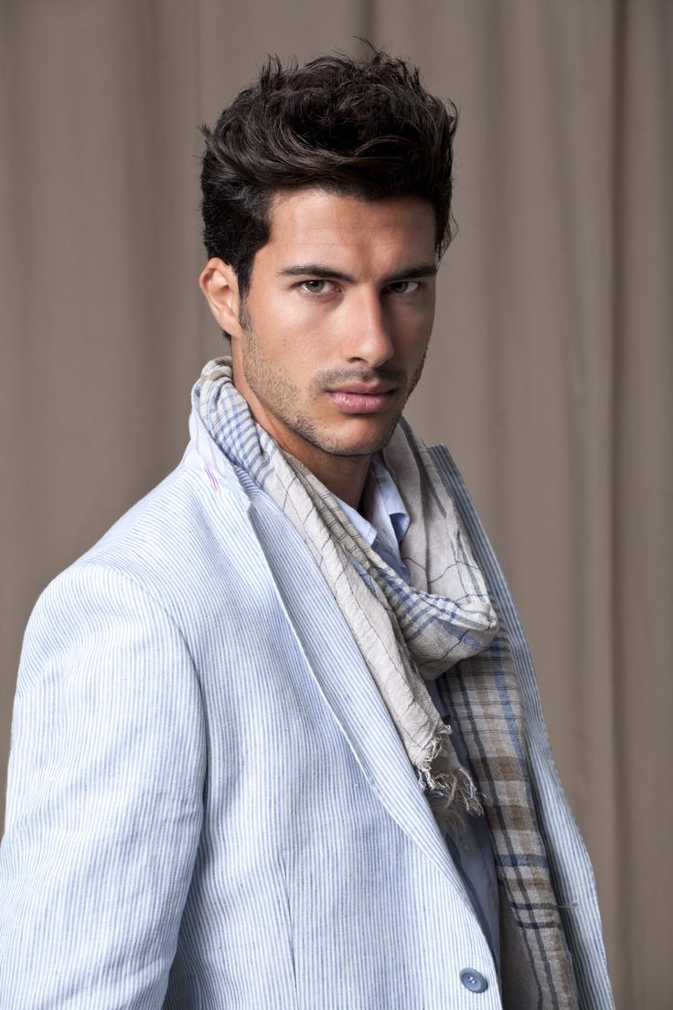 Casual, light blue blazer, powder blue shirt and checked blue scarf
