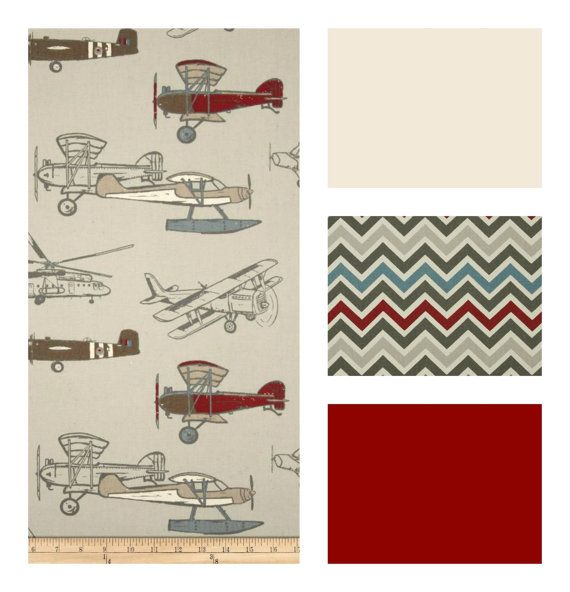 This adorable vintage airplane fabric will set the stage for a fun little boys nursery or toddler room! The airplane fabric and chevron fabric