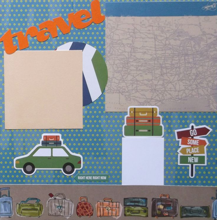Two travel vacation scrapbook pages premade 12x12 are ready for your photos. Acid free materials to last for generations. Free shipping in sturdy protective packaging. This layout with airplane, car, and luggage will compliment any travel photos.