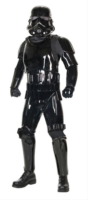 Supreme Edition Star Wars Shadow Trooper Costume - Replica Shadow Trooper Armor. The Supreme Edition Shadow Trooper costume for adults. All of the pieces are sturdy, injection molded plastic. The chest and codpiece are attached to one another with two elastic strips, and the pieces connect to the back and bottom pieces with Velcro. #darthvader #starwars #mens #costume #yyc #calgary