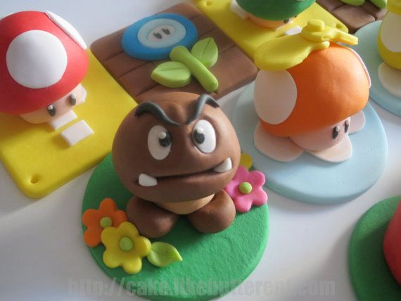 Fondant Super Mario Bros Inspired Cupcake Toppers by LikeButter