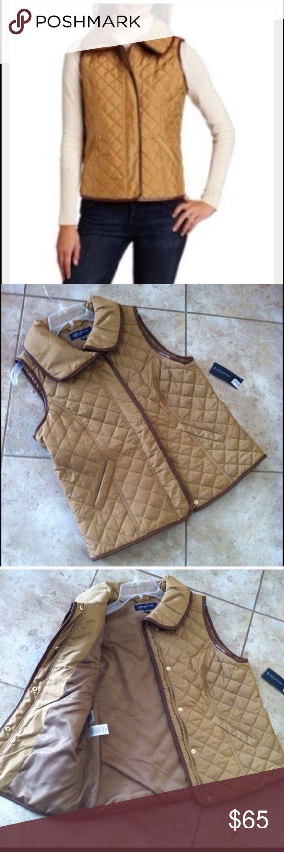 Vest Quilted vest camel color snaps and zipper Jackets & Coats Vests