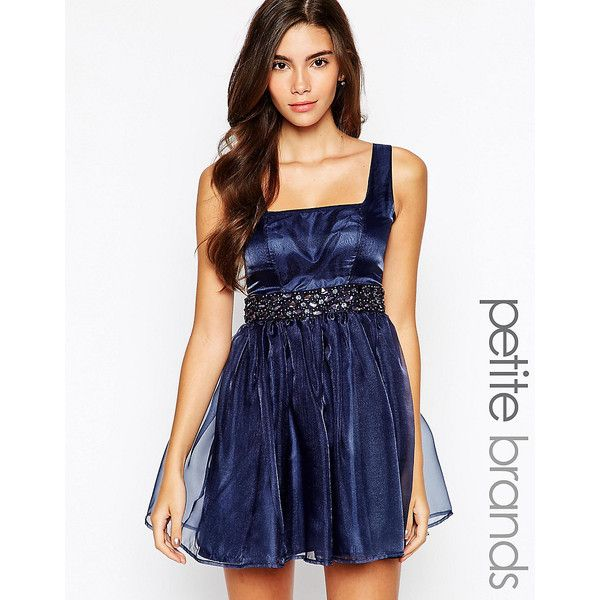 Lipstick Boutique Petite Embellished Organza Sweetheart Prom Dress (796.130 VND) ❤ liked on Polyvore featuring dresses, navy, navy blue dress, petite prom dresses, navy prom dresses, blue prom dresses and beaded cocktail dress