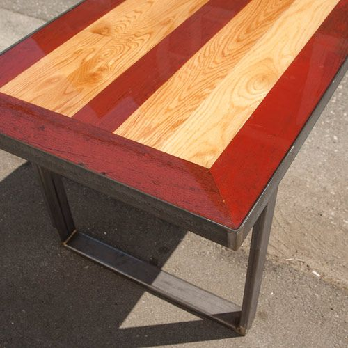 Raw Steel U Shaped Legs W/ A Reclaimed Barn Board Tabletop
