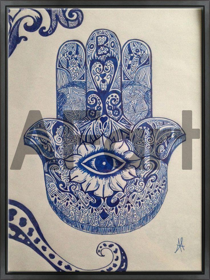 • Mano di Fatima • Drawing. Arte, art, disegno, drawing, draw, painting, paint, grafica, graphic, penna, matita, blu, blue, occhio, eye, colori, colore, colors, dita, porta fortuna, india, oriente, orientale