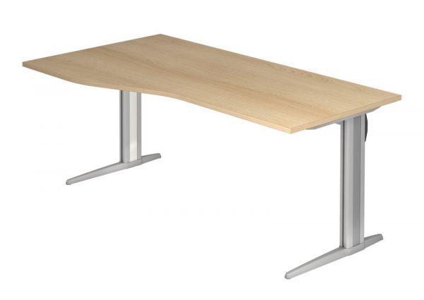 Schreibtisch Xs18 C Fuss 180x100 80cm Eiche Gestellfarbe Silber Haus Deko Tisch Schreibtisch
