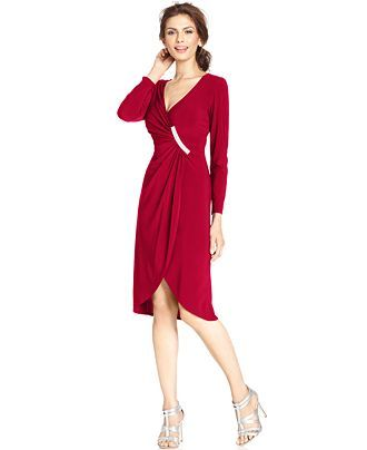 R&M Richards Petite Embellished Faux-Wrap Dress - Dresses - Women - Macy's