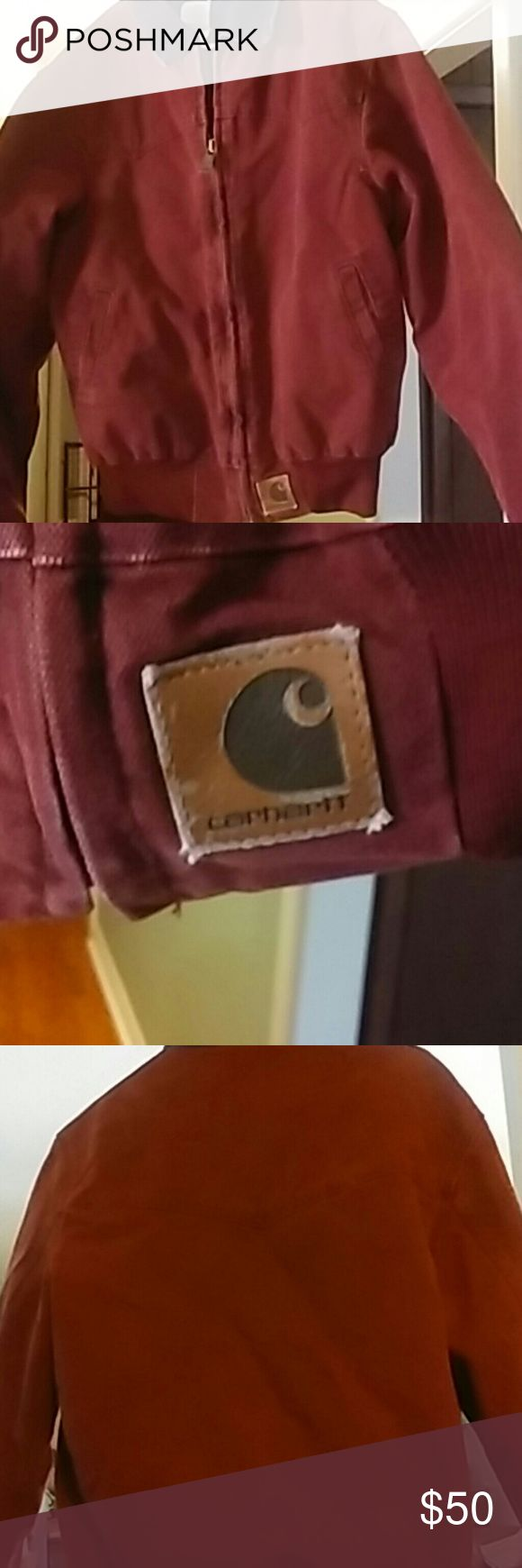 Men's Canvas Carhartt Coat Canvas rust colored coat. Two front pockets. Black collar. Zip up. Carhartt emblem on left bottom front Carhartt Jackets & Coats Lightweight & Shirt Jackets