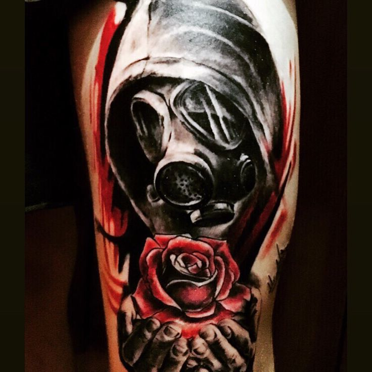 Gas mask tattoo from a perfect artist in Limassol Cyprus  (Mr ghost ) love it