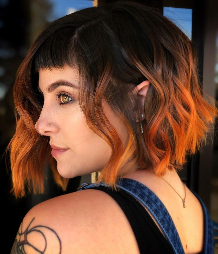 Brown hair with orange ends - #brown #Ends #Hair #orange, in 2020 | Orange ombre hair, Dark orange hair, Brown hair orange ombre