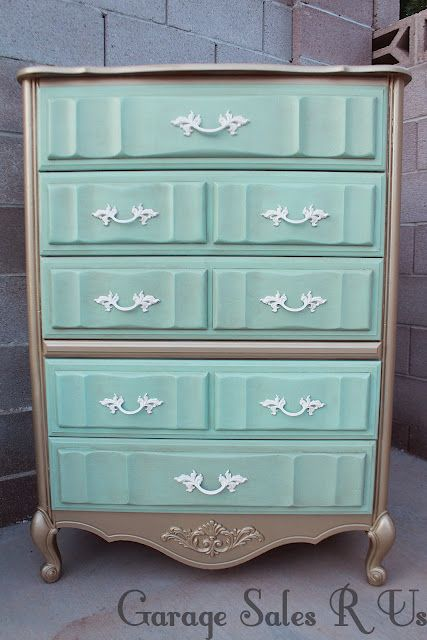 DIY repainted mint bedroom dresser - my mom grew up with this exact one!!!