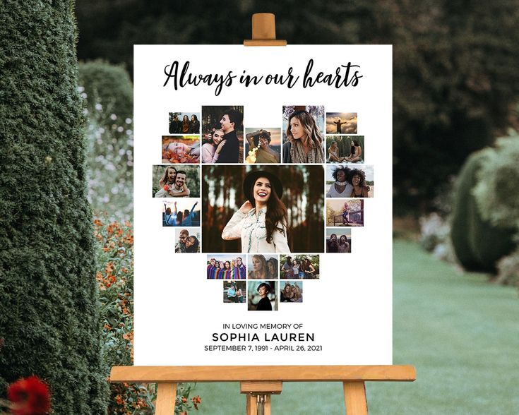 Celebration of Life Poster, Funeral Welcome Sign Display, Always In Our Hearts 20 Photo Collage Guest Book Table Memorial Picture Gift Favor