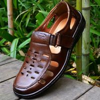 Nuevo 2015 verano cuero genuino de las sandalias masculinas de playa Casual zapatos planos respirables de cuero de lujo zapatos del agujero Lx12