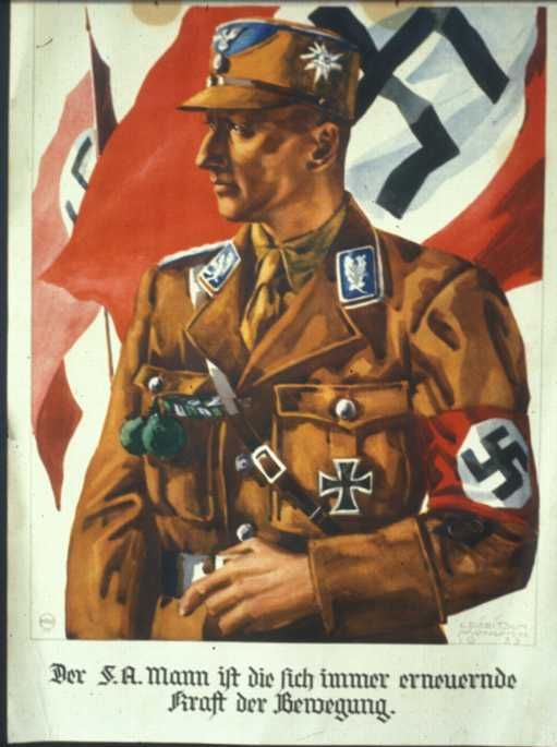 a poster of an SA officer, a propaganda poster at that time, the man's pose is full of stateliness.