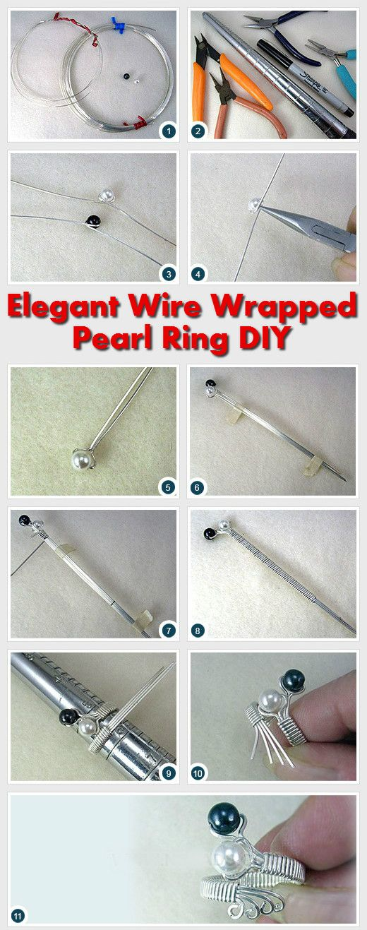 Elegant Silver Wire Wrapped Pearl Ring DIY Diy Crafts