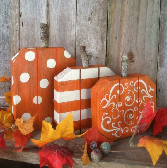 adorable set of 3 fall pumpkins painted with dots stripes swirls wood pumpkins great fallautumn thanksgiving decor - Wooden Halloween Decorations