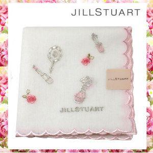 ジルスチュアートのミラーや香水・・・コスメ刺繍入りのハンカチです☆清楚で、上品なホワイトカラー。