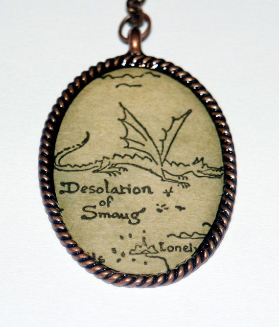 The Hobbit - Desolation of Smaug - Recycled Book Necklace