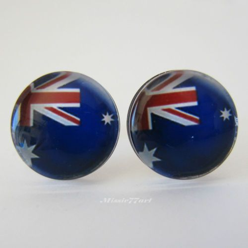 Stainless Steel Australian Flag Australia Day Large Stud Earrings - Gift Boxed - Missie77art Jewellery on ebay