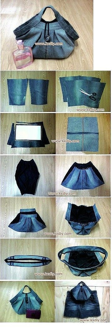 DIY Jeans purse. No instructions, just pics. Recycled Upcycled denim old jeans RECICLAR REUTILIZAR VIEJOS PANTALONES TEJANOS BOLSA SOLO FOTOS