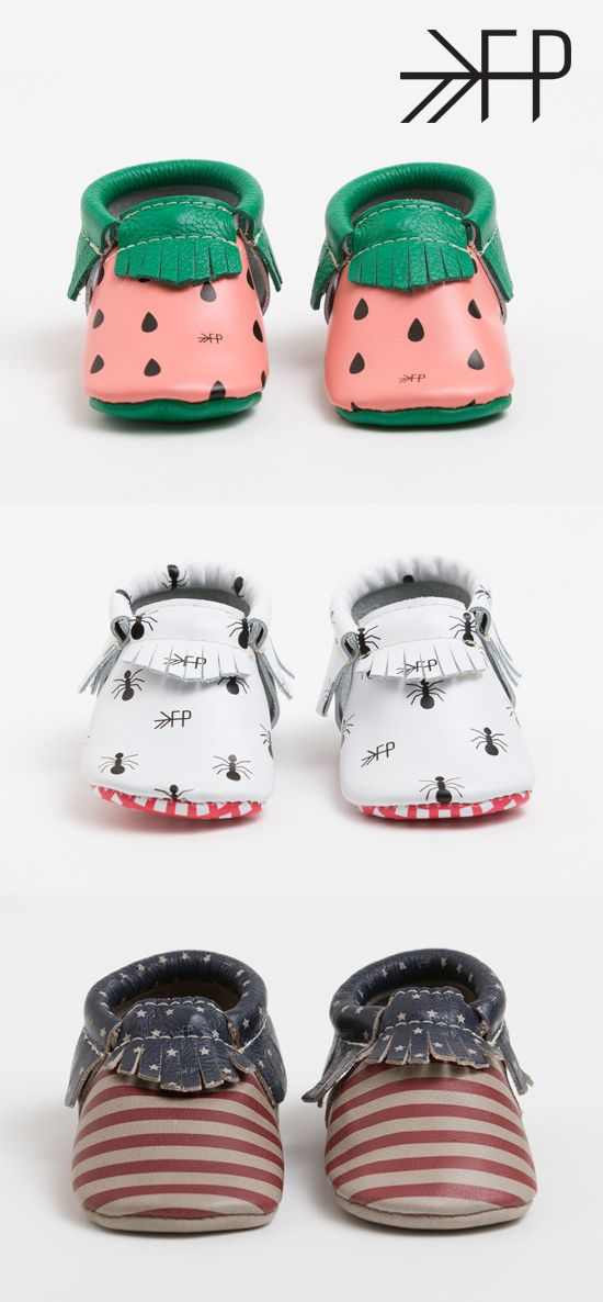 Printed baby moccasins.