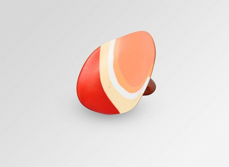 Dinosaur Designs AU Store - Large Shell Ring Size N - Art-Range Oranges