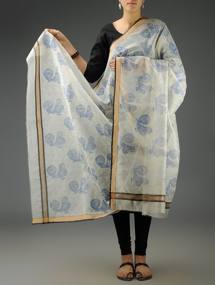 Buy Ivory Blue Birds Maheshwari Printed Dupatta Accessories Dupattas Romantic Impressions Block Online at Jaypore.com