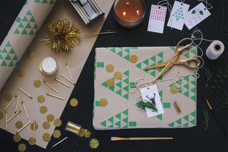 Geo Tree Recycled Wrapping Paper