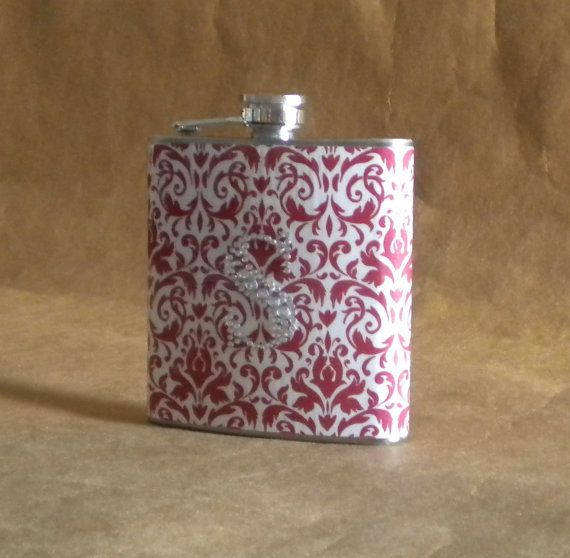 Red and White Damask Print 6 ounce Gift Flask by kryan2designs, $20.50