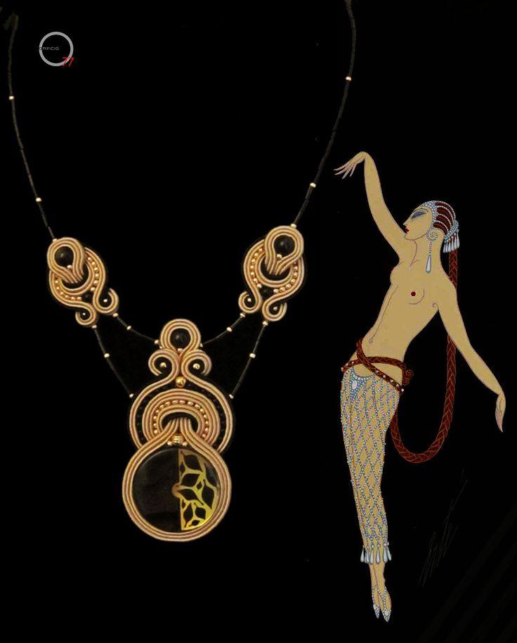 Collana soutache con bottone vintage, perle in ossidiana, rocailles e baguette, ispirato dalle illustrazioni di Ertè. Design Giada Zampar -Opificio77-