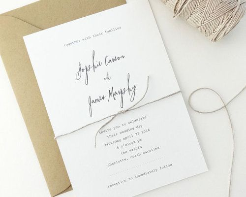 simple calligraphy and twine wedding invitation