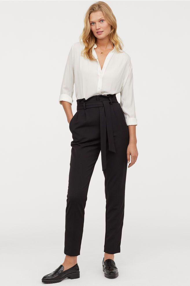 88ce6906cf2b Paper-bag Pants - Black - Ladies