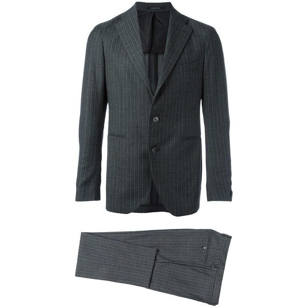 Tagliatore pinstripe formal suit (€685) ❤ liked on Polyvore featuring men's fashion, men's clothing, men's suits, grey, mens gray suit, mens pinstripe suit, mens grey suit, men's grey pinstripe suit and mens patterned suits