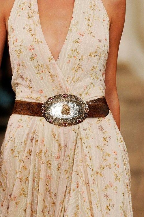 flowy dress with belt buckle