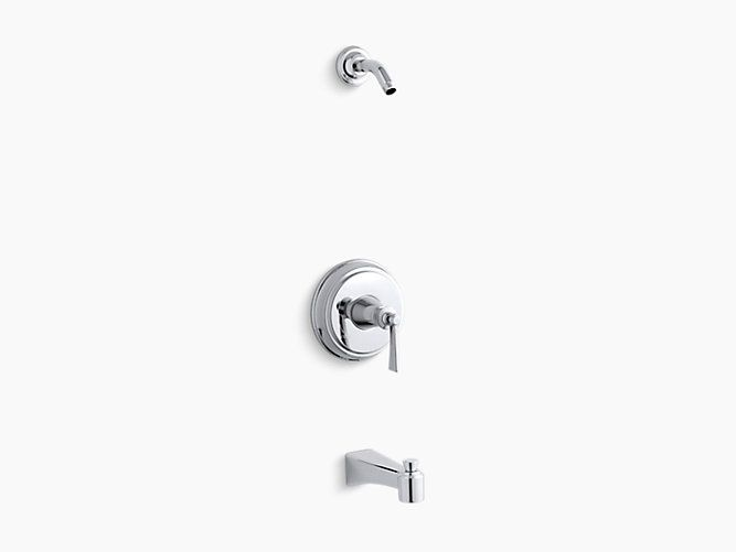 K-TLS11077-4 | Archer® Rite-Temp® bath and shower valve trim with lever handle and spout, less showerhead | KOHLER