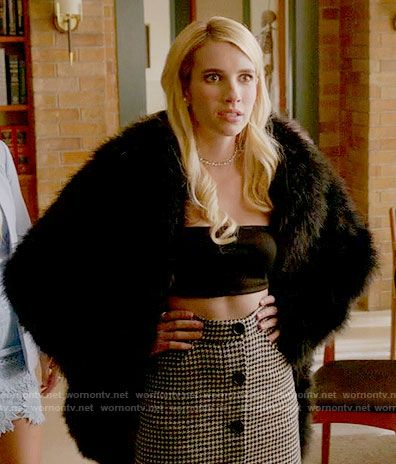 Chanel's houndstooth button front skirt and bandeau top on Scream Queens.  Outfit Details: https://wornontv.net/60994/ #ScreamQueens