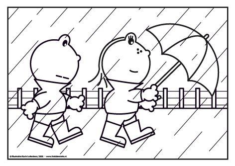 Het regent. Frokkie kijkt niet erg blij. Maar gelukkig heeft Lola een paraplu waar Frokkie ook bij onder kan.