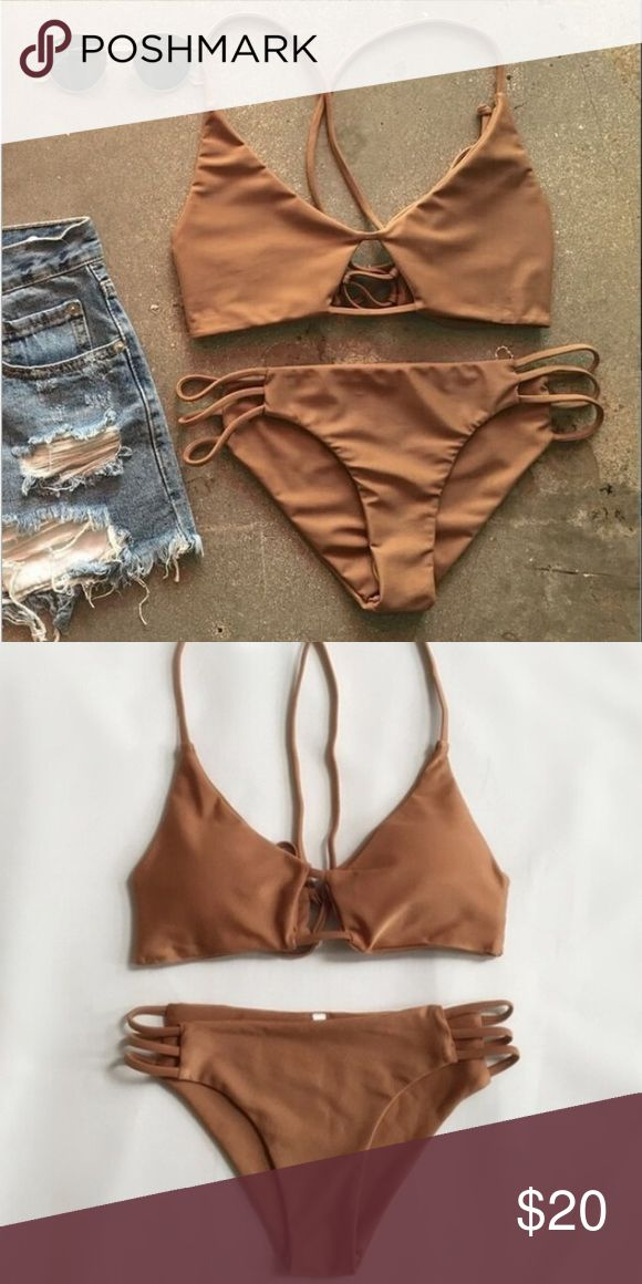 Deep Beige bikini set very pretty color,  Close to deep beige or even a rust color. only tried on,   brand new,  has never been worn out.  top has padding. both top and bottom size Medium.                  will accept ~reasonable~ offers   *note,   i just noticed one of the bikini strings,  it need to be stitched up* (pictured in the 4th photo) Swim Bikinis